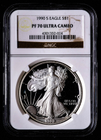 1990-S American Silver Eagle $1 One-Dollar Coin (NGC PF70 Ultra Cameo) at PristineAuction.com
