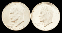 """Lot of (2) Eisenhower """"Ike"""" 40% Silver Dollars with (1) 1972 & (1) 1976 Bicentennial at PristineAuction.com"""
