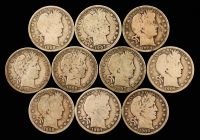 Lot of (10) 1900-1908 Barber Silver Half Dollars at PristineAuction.com