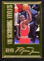 "Michael Jordan 1996 LE 22kt Gold Upper Deck ""10 Scoring Titles"" Basketball Photo Card at PristineAuction.com"