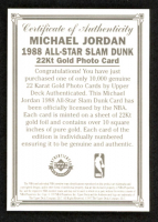 "Michael Jordan 1996 LE 22kt Gold Upper Deck ""1988 All-Star Slame Dunk"" Basketball Photo Card at PristineAuction.com"