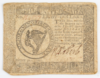 1778 $8 Eight Dollars - Continental - Colonial Currency Note at PristineAuction.com