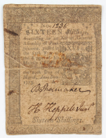1773 16s. Sixteen Shillings - Pennsylvania - Colonial Currency Note at PristineAuction.com