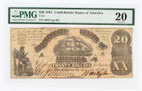 1861 $20 Twenty-Dollar Confederate States of America Richmond CSA Bank Note (PMG 20) at PristineAuction.com