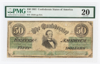 1861 $50 Fifty-Dollar Confederate States of America Richmond CSA Bank Note (PMG 20) at PristineAuction.com