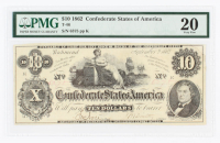 1862 $10 Ten-Dollar Confederate States of America Richmond CSA Bank Note (PMG 20) at PristineAuction.com