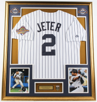 Derek Jeter Yankees 32.75x36.75 Custom Framed Jersey with Hallof Fame Induction Pin at PristineAuction.com