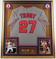 Mike Trout Angels 33x37 Custom Framed Jersey Display With Pin at PristineAuction.com