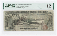 "1896 $1 One-Dollar ""Educational Series"" Large-Size Silver Certificate (PMG 12) at PristineAuction.com"