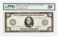 1914 $20 Twenty-Dollar Blue Seal U.S. Large-Size Federal Reserve Note (PMG 30) at PristineAuction.com