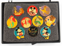Disney 10th Anniversary Channel Pins Set With Case at PristineAuction.com