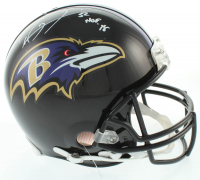 """Ray Lewis Signed Ravens Full-Size Authentic On-Field Helmet Inscribed """"HOF '18"""" (Beckett COA) at PristineAuction.com"""