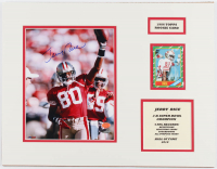 Jerry Rice Signed 49ers 14x18 Custom Matted Photo Display with 1986 Topps #161 RC Baseball Card (SOP COA & Steiner Hologram) at PristineAuction.com