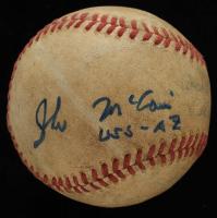 "John McCain Signed OFSL Baseball Inscribed ""USS - AZ"" (JSA COA) at PristineAuction.com"