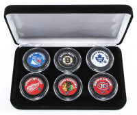"""The Original Six"" NHL Teams 6-Coin Colorized Set with Boston Bruins, New York Rangers, Chicago Blackhawks, Detroit Red Wings, Toronto Maple Leafs & Montreal Canadiens at PristineAuction.com"