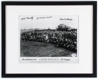 World War II U.S. 101st Airborne Division 12x15 Custom Framed Photo Signed by (5) with Bob Noody, Jim Martin, Dan McBride (PSA LOA) at PristineAuction.com