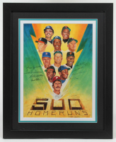 500 Home Run Club 27x33 Custom Framed Lithograph Signed by (11) with Mickey Mantle, Ted Williams, Willie Mays, Hank Aaron (JSA ALOA) at PristineAuction.com