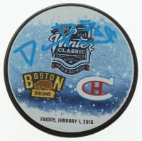 David Pastrnak Signed 2016 Winter Classic Logo Hockey Puck (Pastrnak COA) at PristineAuction.com