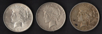 Lot of (3) Peace Silver Dollars with 1922, 1923 & 1924 at PristineAuction.com