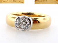 Tiffany & Co. 1.02ct Natural Diamond Solitaire Engagement Ring 18kt Yellow Gold & Platinum (GIA & GLA Certified) at PristineAuction.com