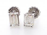 1.82ct Emerald Cut Natural Diamond Stud Earrings Platinum (GIA & GAL Certified) at PristineAuction.com