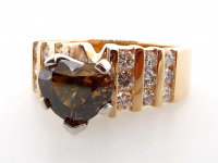 2.45ct Natural Fancy Brown & White Diamond Ring 14kt Yellow Gold (GIA & GAL Certificates) at PristineAuction.com