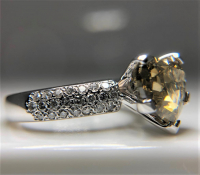 Huge 3.54ct Natural Fancy Brown-Yellow & White Diamond Ring 14kt White Gold (GIA & GAL Certificates) at PristineAuction.com