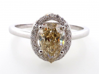 1.21ct Natural Fancy Brown-Yellow & White Diamond Ring 14kt White Gold (GIA & GAL Certificates) at PristineAuction.com