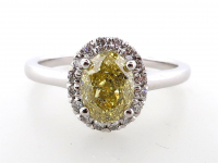 1.30ct Natural Fancy Deep Yellow & White Diamond Ring 14kt White Gold (GIA & GAL Certificates) at PristineAuction.com