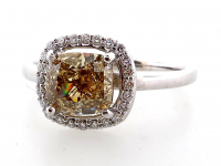 1.77ct Natural Fancy Dark Brown-Yellow & White Diamond Ring 14kt White Gold (GIA & GAL Certificates) at PristineAuction.com