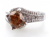 3.78ct Natural Fancy Orange & White Diamond Ring 14kt White Gold (GIA & GAL Certificates) at PristineAuction.com