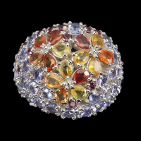 5.85ct Natural Multi-Colored Sapphire & Tanzanite Ring (GAL Certified) at PristineAuction.com