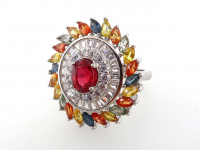 4.11ct Natural Ruby & Multi-Colored Sapphire Ring (GAL Certified) at PristineAuction.com