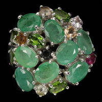 7.05ct Natural Emerald & Multi-Gemstone Ring (GAL Certified) at PristineAuction.com