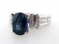 3.01ct Natural Sapphire & Diamond Ring 14kt White Gold (GIA & GAL Certified) at PristineAuction.com
