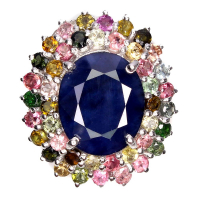 12.35ct Natural Blue Sapphire & Multi-Colored Sapphire Ring (GAL Certified) at PristineAuction.com
