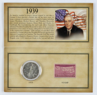 Historic 1939 Stamp & Coin Collection with (1) Walking Liberty Silver Half-Dollar & (1) Stamp at PristineAuction.com