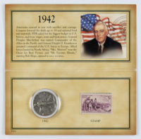 Historic 1942 Stamp & Coin Collection with (1) 1942-D Walking Liberty Silver Half-Dollar & (1) Stamp at PristineAuction.com