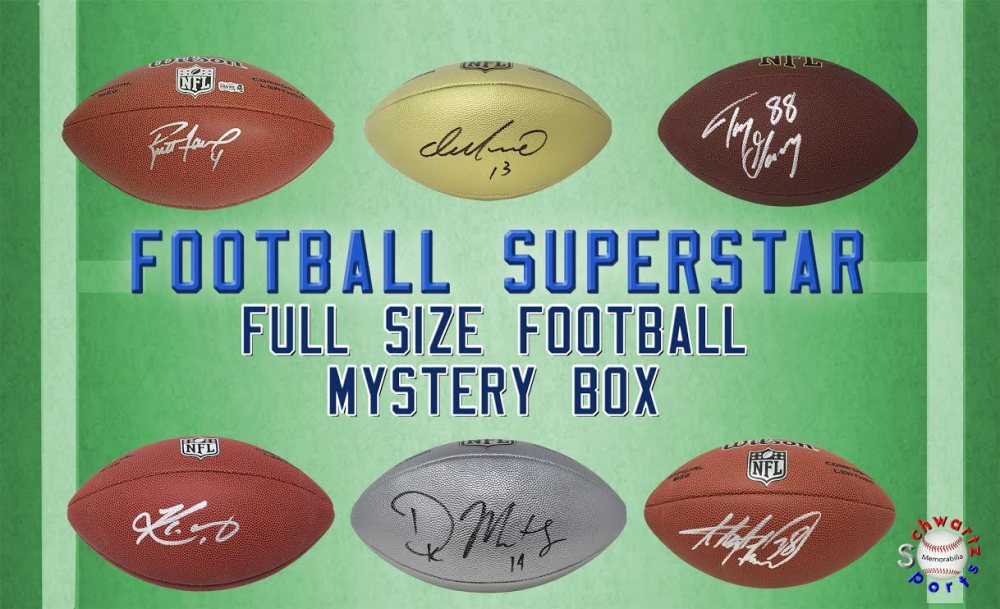 Schwartz Sports Football Superstar Signed Full Size Football Mystery Box - Series 21 (Limited to 100) at PristineAuction.com