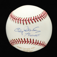 "Roger Clemens Signed OML Career Stat Engraved Baseball Inscribed ""Rockets"" (MLB Hologram & Tri-Star Hologram) at PristineAuction.com"
