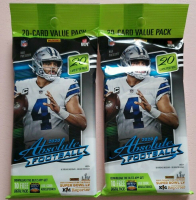 Lot of (2) 2020 Panini Absolute Football Fat Packs with (20) Cards Each at PristineAuction.com