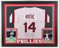 "Pete Rose Signed 35x43 Custom Framed Jersey Inscribed ""1980 WS Champs"" (Fiterman Hologram) (See Description) at PristineAuction.com"