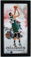 Giannis Antetokounmpo Bucks 12x22 Custom Framed Game-Used Basketball Piece Display (Steiner COA) at PristineAuction.com