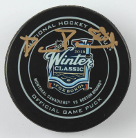 David Pastrnak Signed 2016 Winter Classic Logo Hockey Puck (YSMS COA) at PristineAuction.com