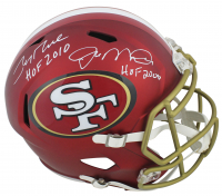 "Jerry Rice & Joe Montana Signed 49ers Blaze Speed Helmet Inscribed ""HOF 2010"" & ""HOF 2000"" (Beckett COA) at PristineAuction.com"