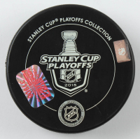Andrew Shaw Signed 2015 Stanley Cup Logo Hockey Puck (YSMS Hologram) at PristineAuction.com