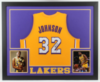 Magic Johnson Signed 35x43 Custom Framed Jersey (Beckett COA) (See Description) at PristineAuction.com
