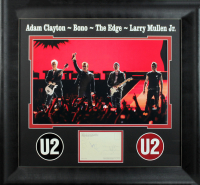 """U2"" 24.5x26.5 Custom Framed Postcard Display Band-Signed by (4) with Bono, The Edge, Adam Clayton & Larry Mullen (Beckett LOA) at PristineAuction.com"