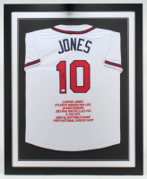 Chipper Jones Signed 35x43 Custom Framed Career Highlight Stat Jersey (JSA Hologram) at PristineAuction.com