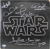 """Star Wars"" Vinyl Album Cover Cast-Signed by (6) with Mark Hamill, Anthony Daniels, John Williams, Peter Mayhew, David Prowse, & Jeremy Bulloch (Beckett LOA) at PristineAuction.com"